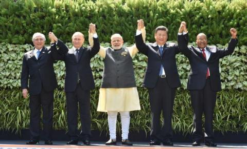 The heads of BRICS nations at Goa Summit. Source: PIB, India