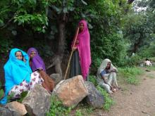 Women take turns to protect pastures from illegal tree felling.