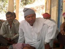 Nahar Singh with his fellow farmers.